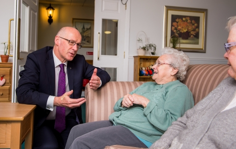 John Swinney MSP chats to care home residents