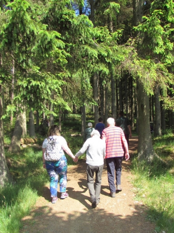 holidaymakers in the woods