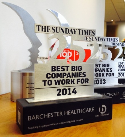 Barchester makes Sunday Times 25 Best Big Companies to Work for 2014