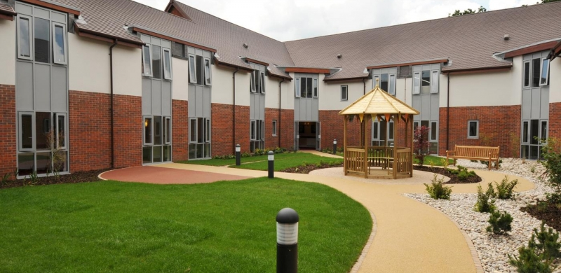 View of the courtyard inside Harper Fields Care Home
