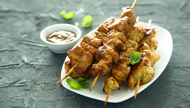 Nutty chicken skewers