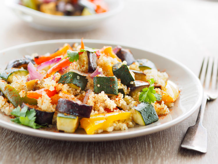 Gluten Free Recipes - Roasted Vegetables, Feta and Quinoa