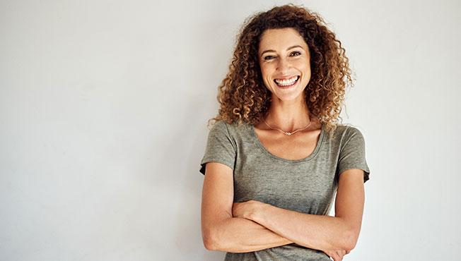 Woman smiling and happy.