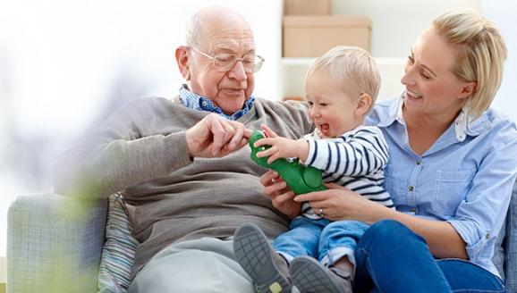 Senior man with his daughter and grand son