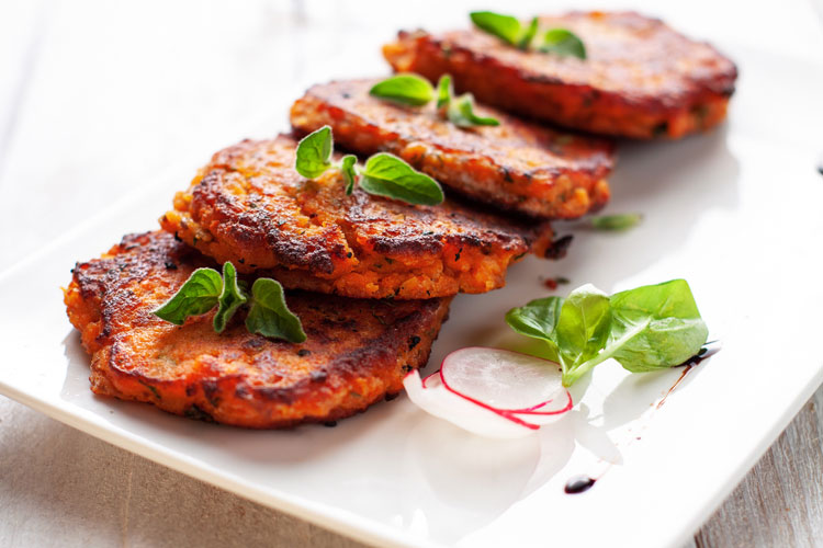 Vegetarian Recipes - Spicy Sweet Potato Cakes and Eggs