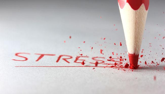 The word stress written with red crayon