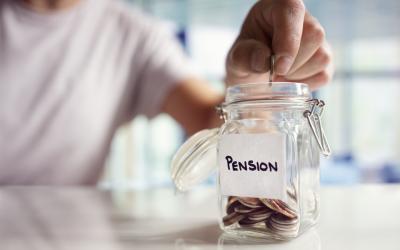 Money jar with pension label