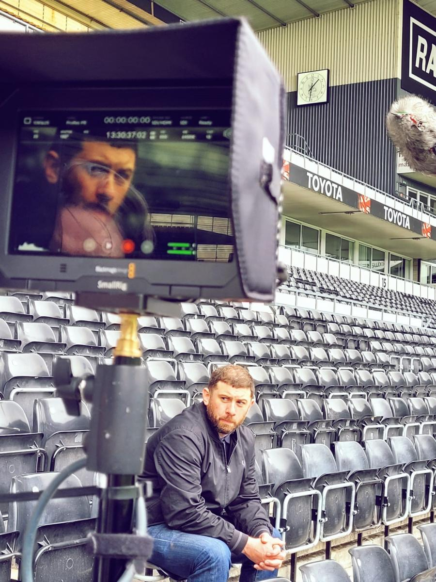 Extra Time trailer filming at Derby County with Jamie Thrasivoulou and Simon Dymond