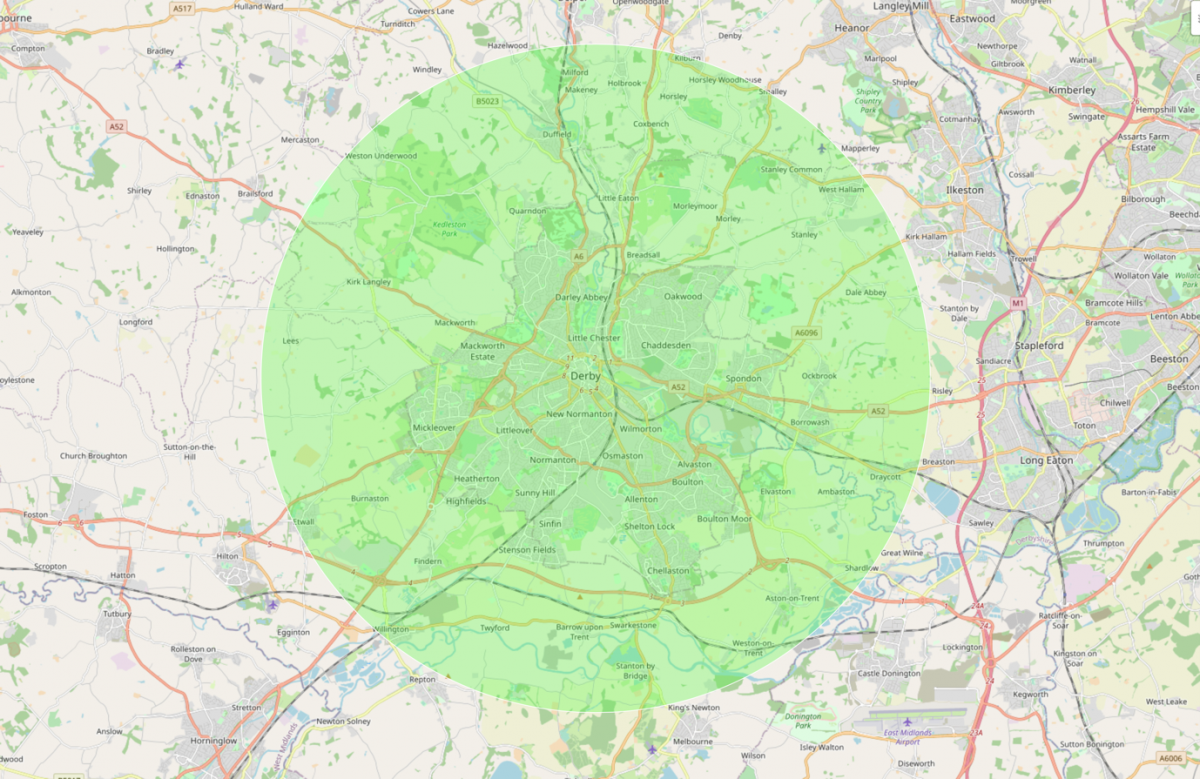 Map of Derby of the 10k radius Derby Ditty covers