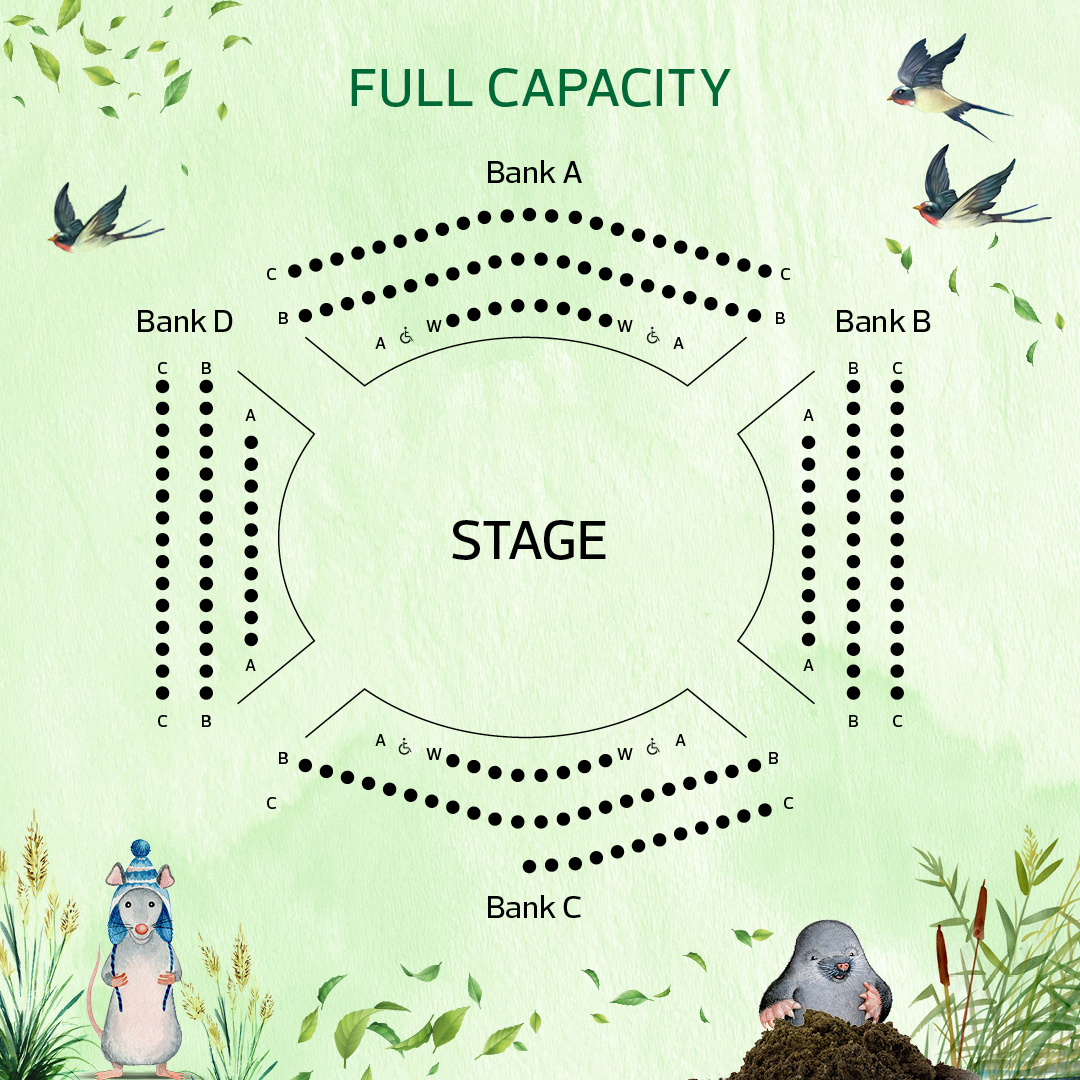 Full Capacity Seating Plan for Wind in the Willows
