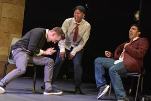 Matthew Biddulph as George, Terry Haywood as Craig & Adeel Ali as Mohammed - Photo by Robert Day