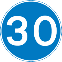 minimum 30mph speed road sign