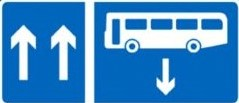 contraflow bus lane road sign