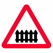 level crossing with gate or barrier road sign