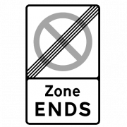 zone ends road sign
