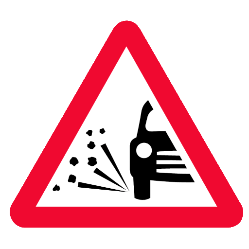 loose road surface road sign