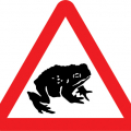 wildlife road sign - frog
