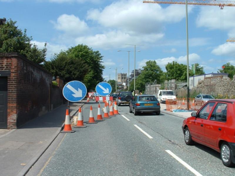 blocked lane roadworks