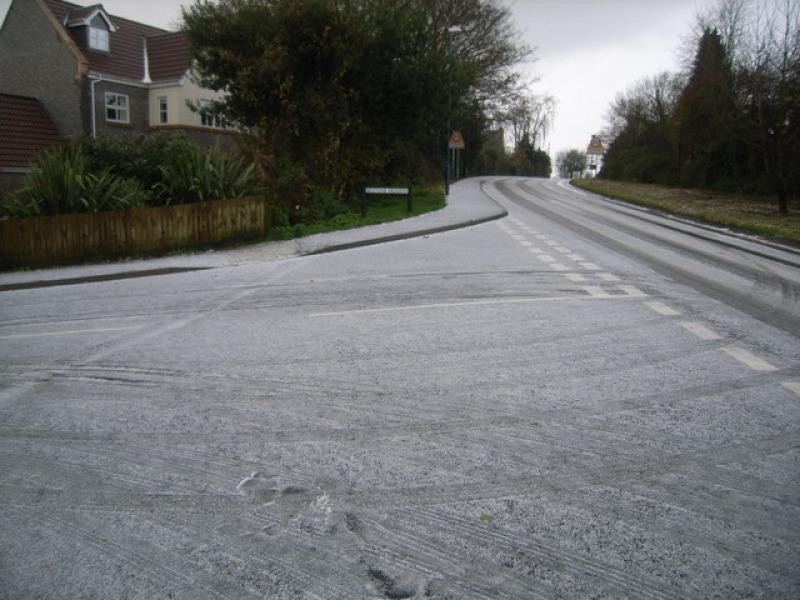 Light snow on road