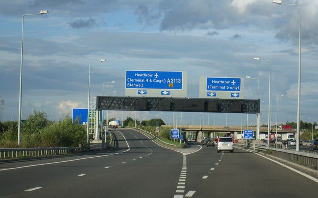 Heathrow road signs on motorway