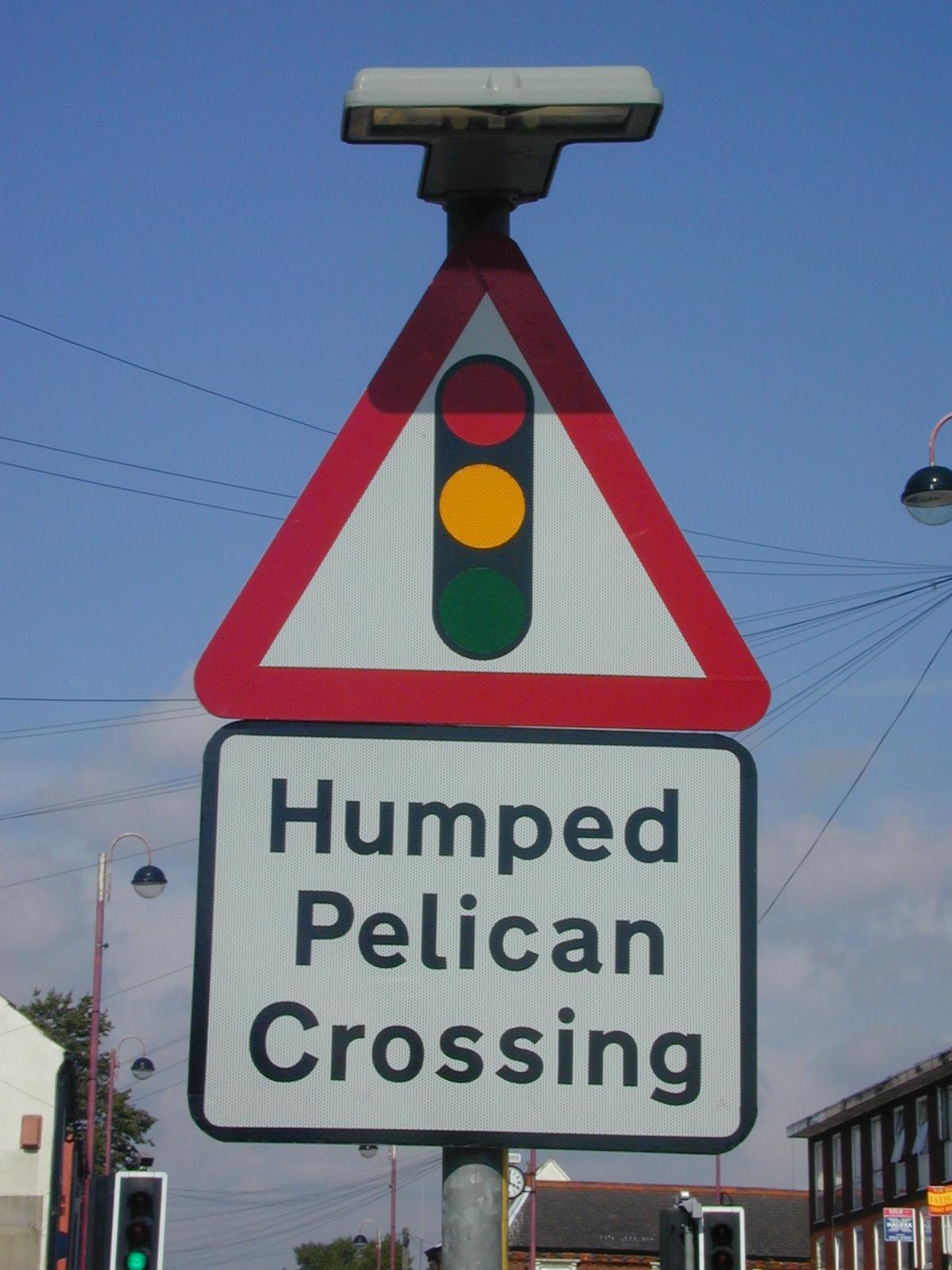 Humped Pelican Crossing road sign