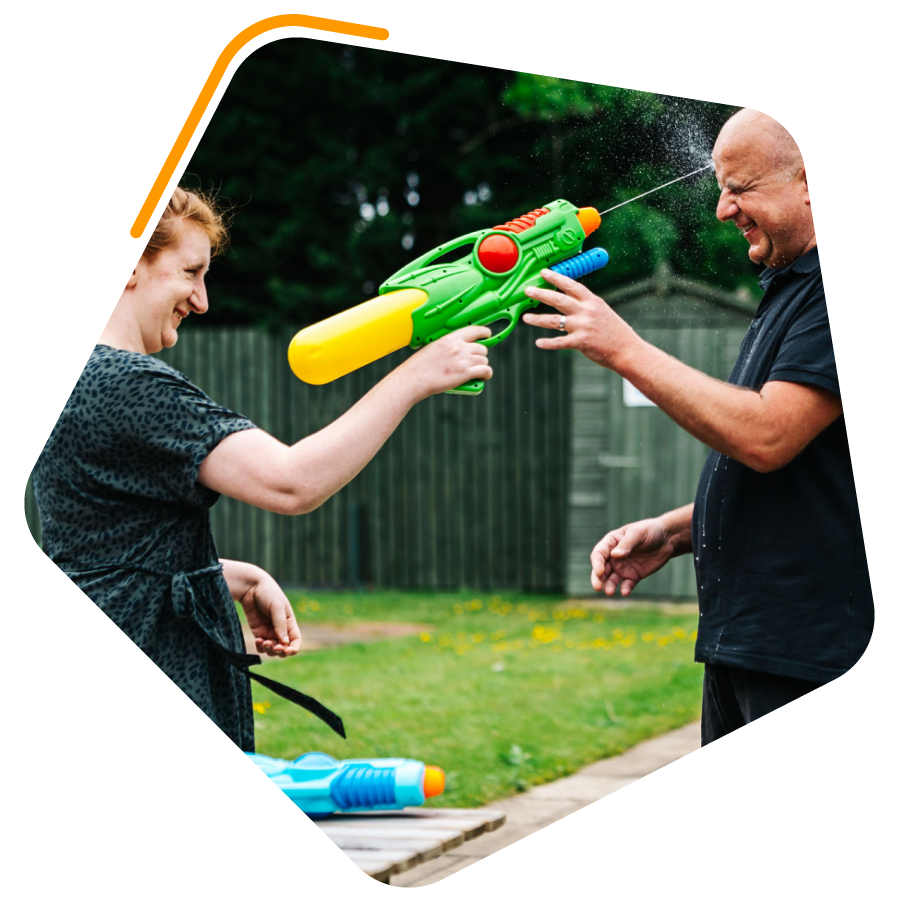 Patients playing with water pistols