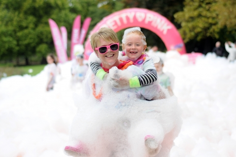 2017 Leicester Bubble Rush at Abbey Park in which over 1,600 people took part for Rainbows