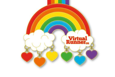 The Chase the Rainbow medal, which is a Rainbow with coloured hearts hanging from it