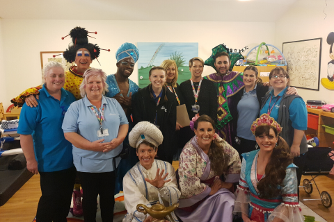 Aladdin came to Rainbows Hospice for Children and Young People