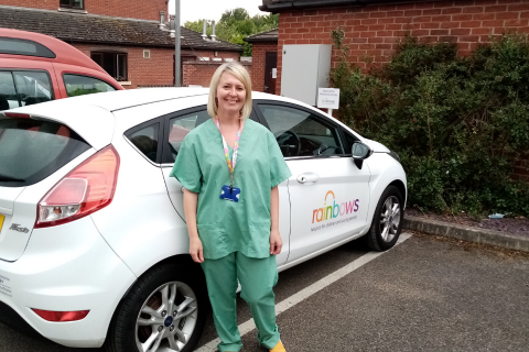 Rainbows Hospice for Children and Young People's neonatal nurse in scrubs