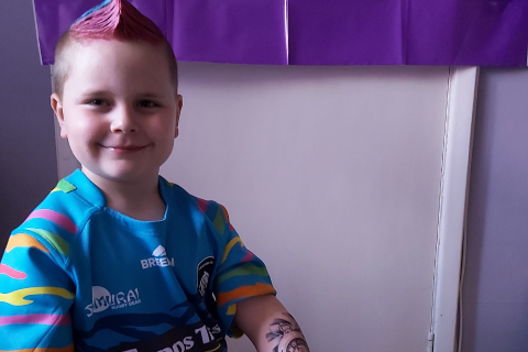 Young supporter in a Leicester Tigers shirt