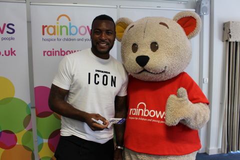 Wes Morgan with Bow Bear at Rainbows Hospice for Children and Young People