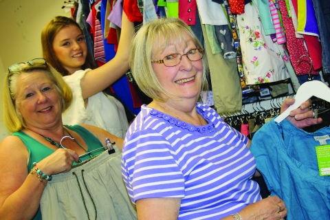 Volunteers in a Rainbows Hospice charity shop