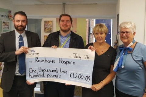 Cheque Presentation at Rainbows Hospice